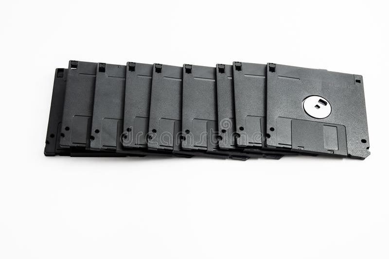 Set of old black, single, three and a half floppy disks stock photo