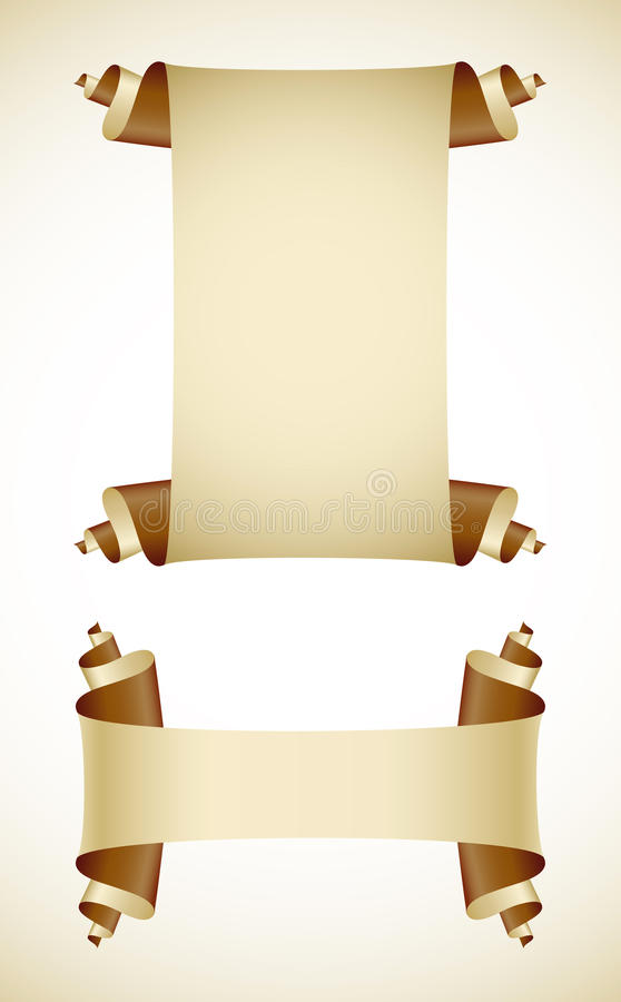 Set of old blank paper scroll scripts royalty free illustration