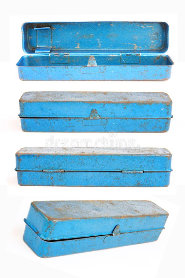 Download A set of old blue toolbox stock photo. Image of steel - 23536550