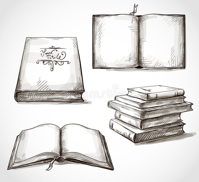 Set of old books drawings. Pile of books open book royalty free illustration