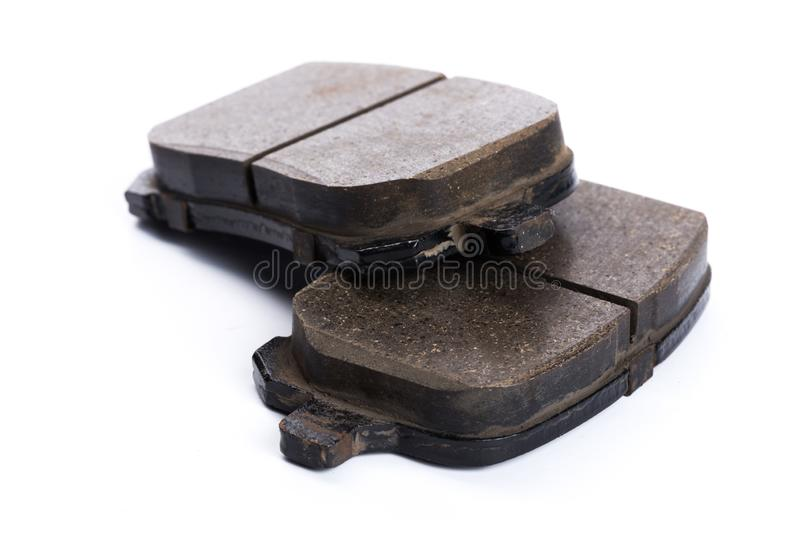 Set of brake pads, car spares isolated on white background royalty free stock images