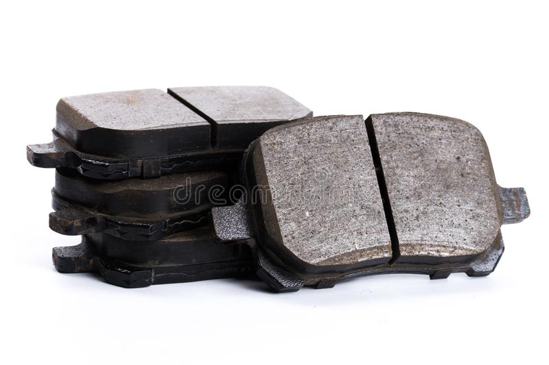 Set of brake pads, car spares isolated on white background stock image