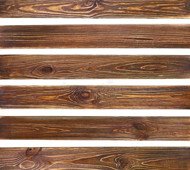 Set of old brown grunge wood planks stock images