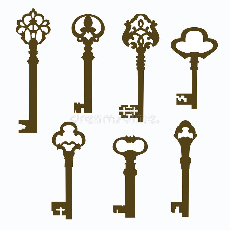 Set old carved door keys vector illustration