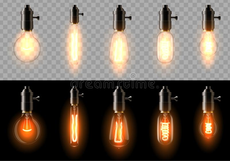 A set of old, classic, retro incandescent bulbs of different shapes. On a transparent and black background. royalty free stock images