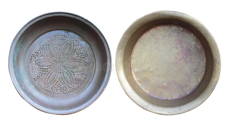 Set of Old copper bowls. Isolated on white, with clipping path royalty free stock photo