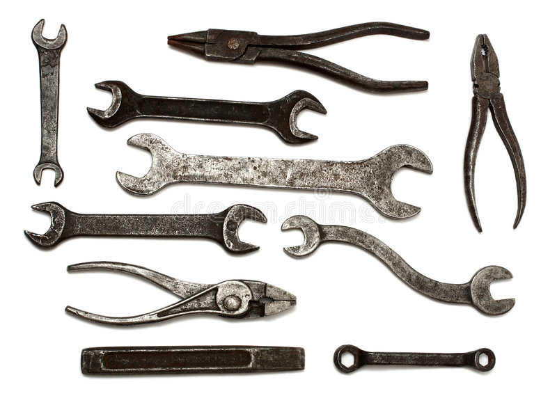 Set of old dirty tools royalty free stock photography