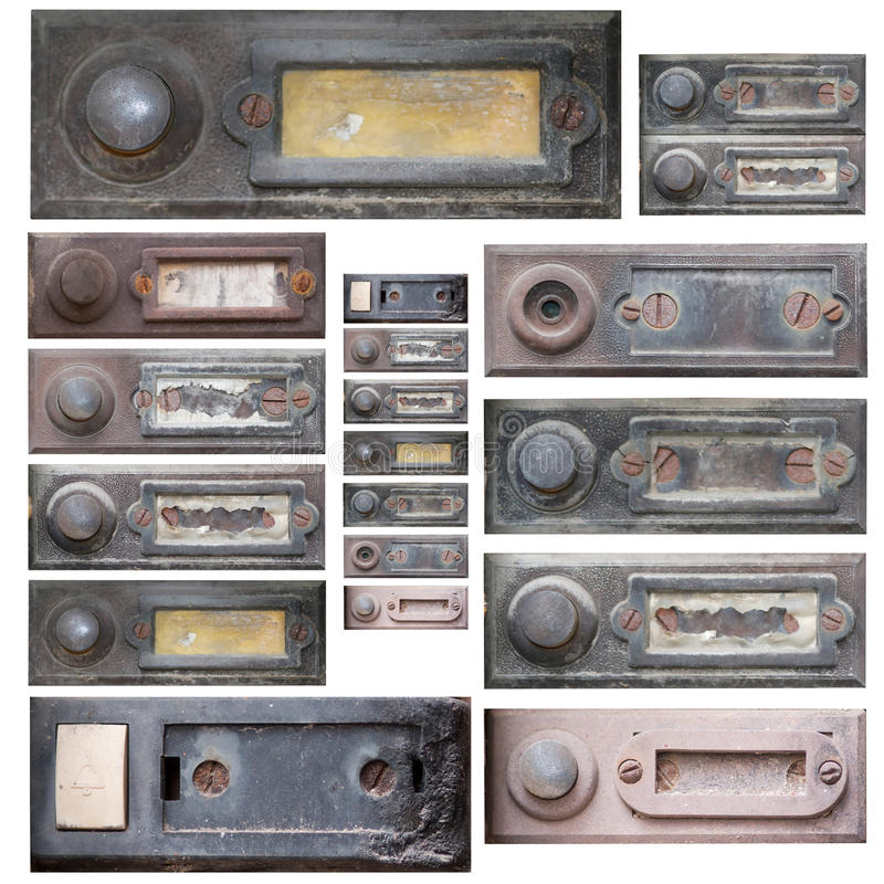 Download Set of the old doorbells stock photo. Image of press - 39946216