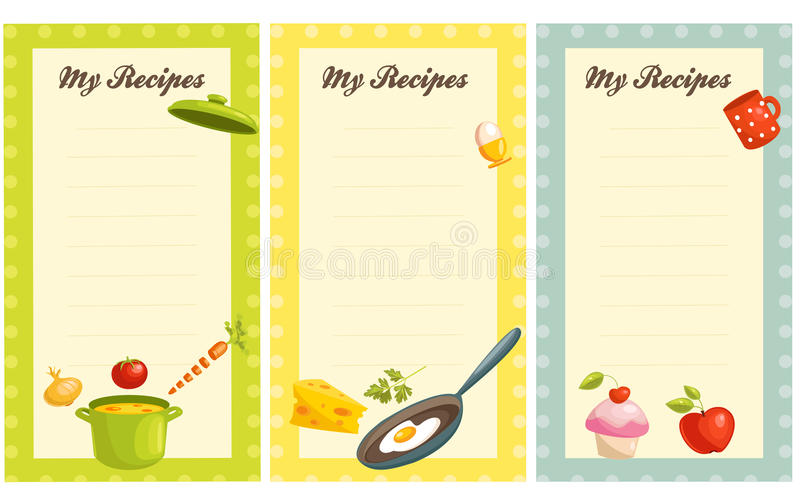Set of old fashioned recipe card stock illustration