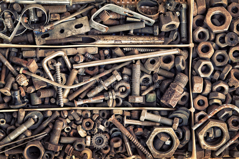 Set of old fastening elements in vintage style as a background stock photography