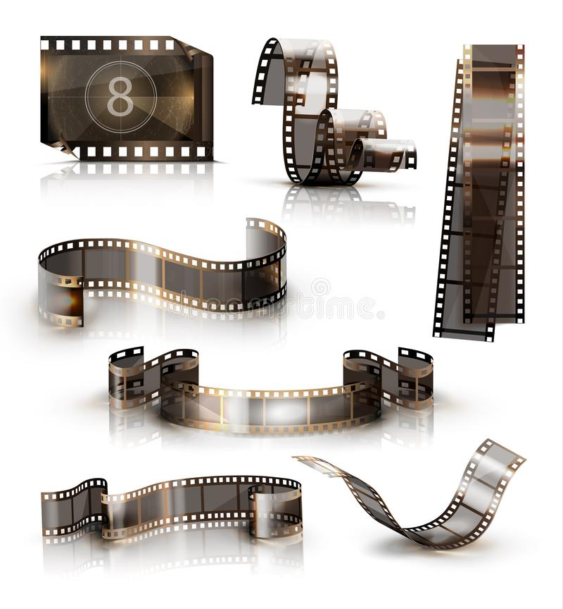 Old film strip. 3d vector icon set. Set of old film strips. 3d vector icons stock illustration