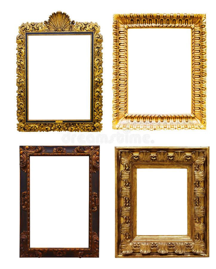 Set Of Old Gold Frames. Isolated Over White Stock Photo - Image of ...