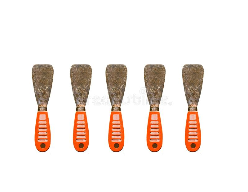 Set of old gyan putty or spatula isolated on white,look old and dirty. royalty free stock images