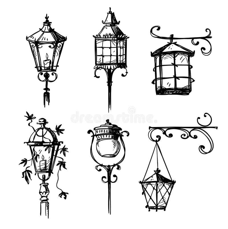 Set of old hand drawn street lamps, vector illustration.  stock illustration