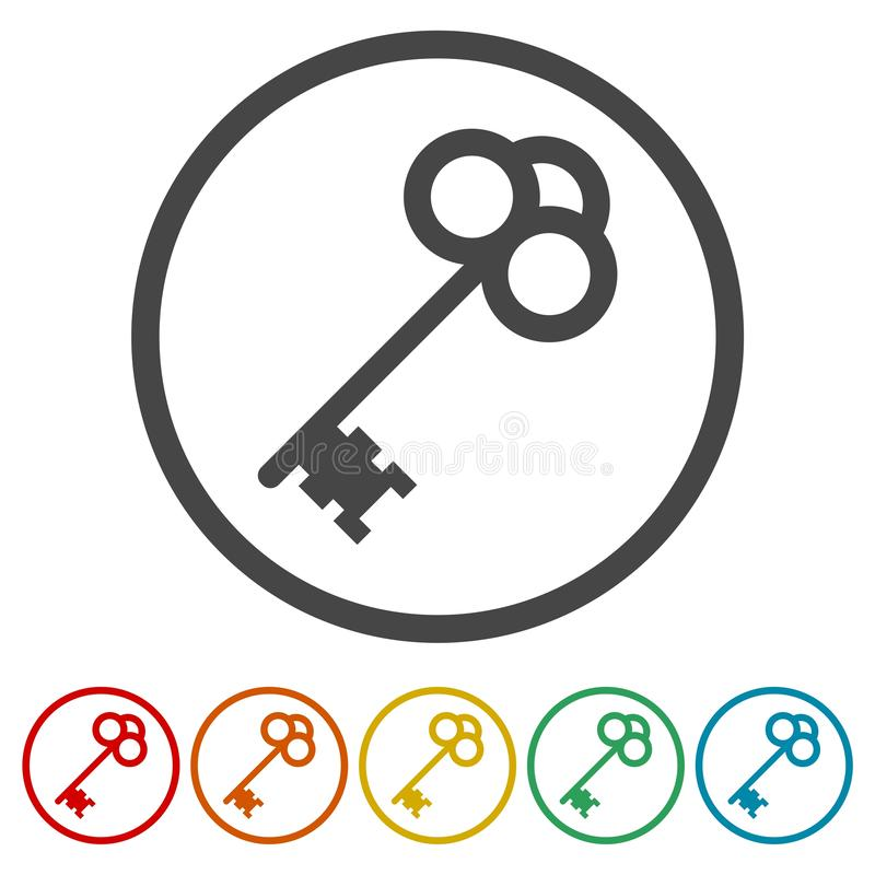 Set of old keys silhouettes vector illustration stock illustration