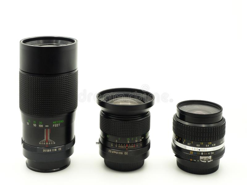 Set of old lenses royalty free stock image