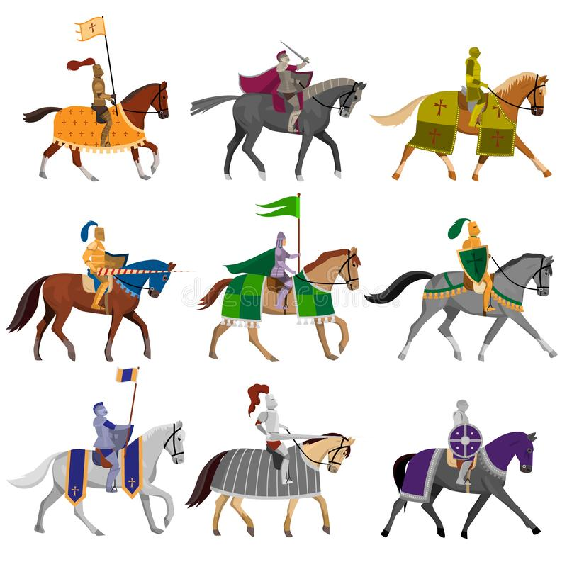 Set of old medieval knights in helmet with different horses royalty free illustration