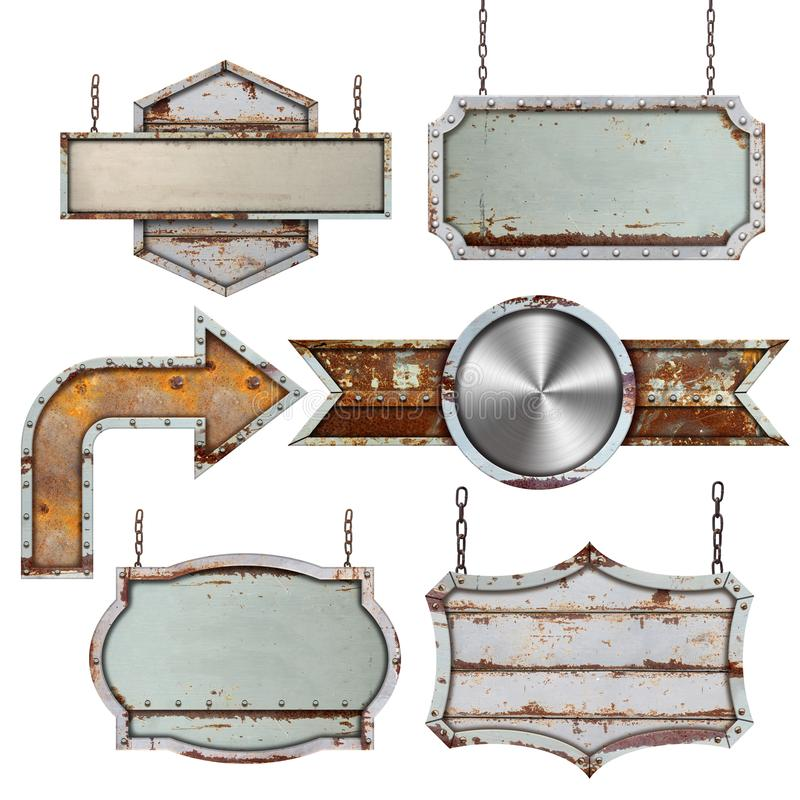 Set of old metal steel sign isolated on white. Background royalty free stock photography
