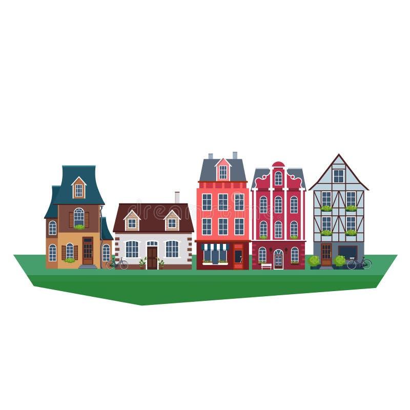 Old Vintage Houses Vector Illustration. Set of old mideval houses. Vector Illustration royalty free illustration