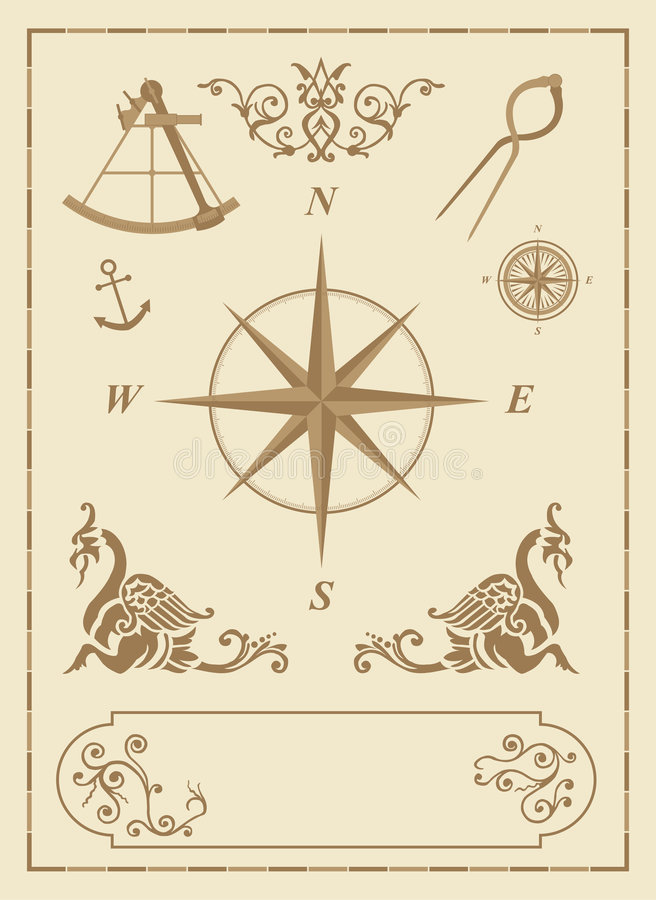 Set of old nautical symbols. And icons with vintage map design elements vector illustration