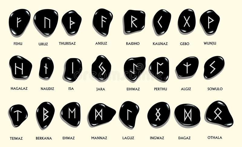 Set of Old Norse Scandinavian runes carved in stone. Runic alpha. Bet ,futhark. Ancient occult symbols, germanic letters on white. Vector illustration stock illustration