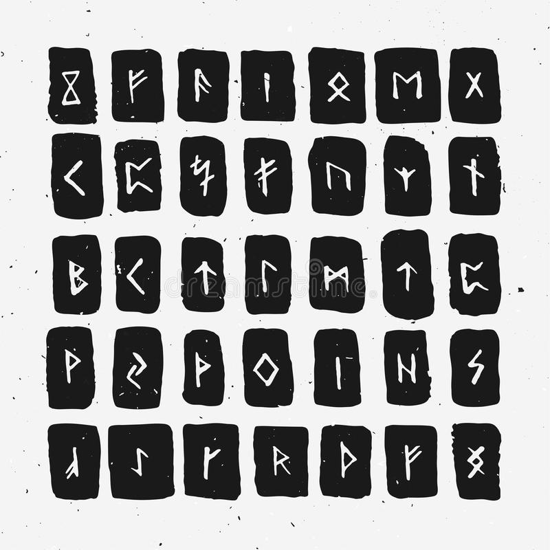 Set of Old Norse Scandinavian runes carved in wood. Runic alphabet, futhark. Ancient occult symbols, vikings letters on. Set of Old Norse Scandinavian runes royalty free illustration