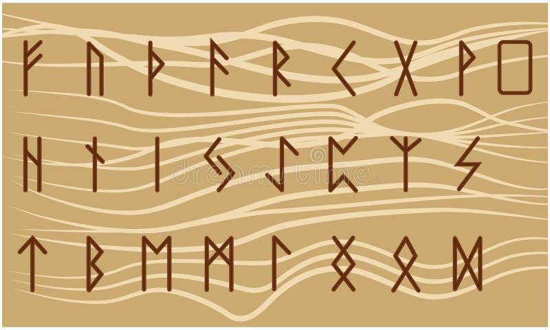 Set of Old Norse Scandinavian runes. Rune alphabet. Occult ancient symbols.  royalty free illustration
