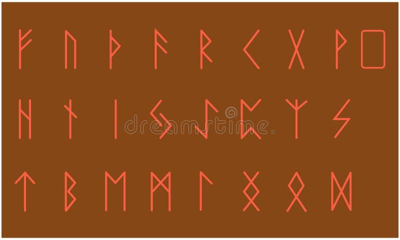 Set of Old Norse Scandinavian runes. Rune alphabet. Occult ancient symbols.  vector illustration