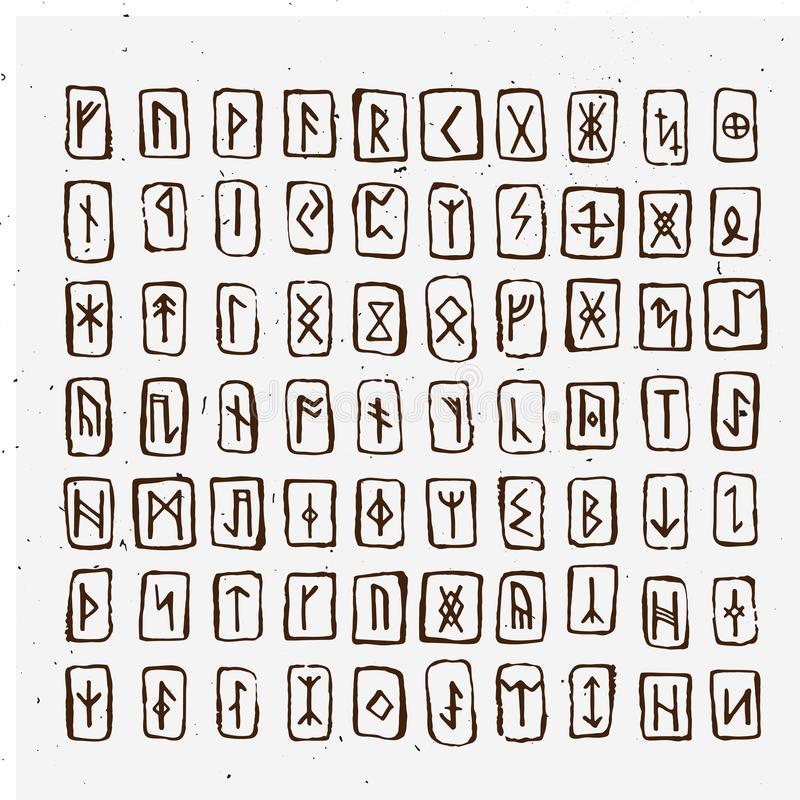 Set of Old Norse Scandinavian runes carved in wood. Runic alphabet, futhark. Ancient occult symbols, vikings letters on. Set of Old Norse Scandinavian runes stock illustration