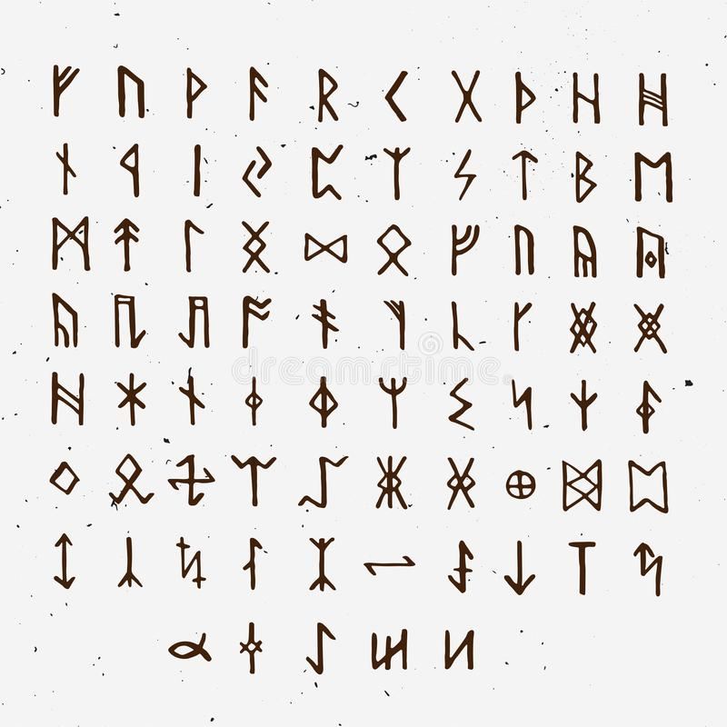 Set of Old Norse Scandinavian runes. Runic alphabet, futhark. Ancient occult symbols, vikings letters on white, rune. Font. Vector illustration with light stock illustration