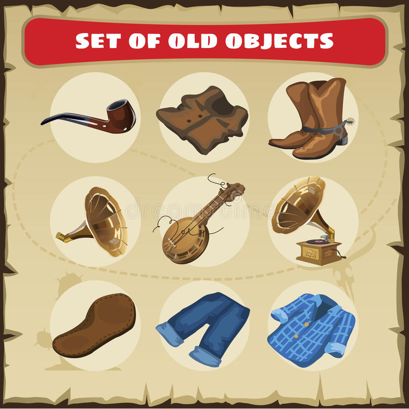 Set of old objects: vest, boots and other. Vector set of old objects: smoking pipe, vest, boots, musical instruments and clothing stock illustration