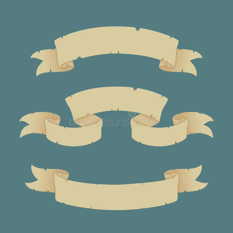 Set of old paper ribbon banners. Vector Illustration. Retro style. royalty free illustration