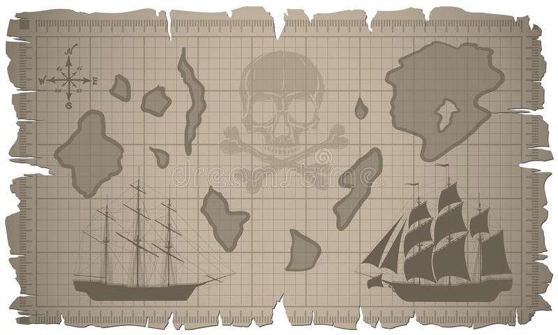 Set of old paper sheets and old map. stock illustration