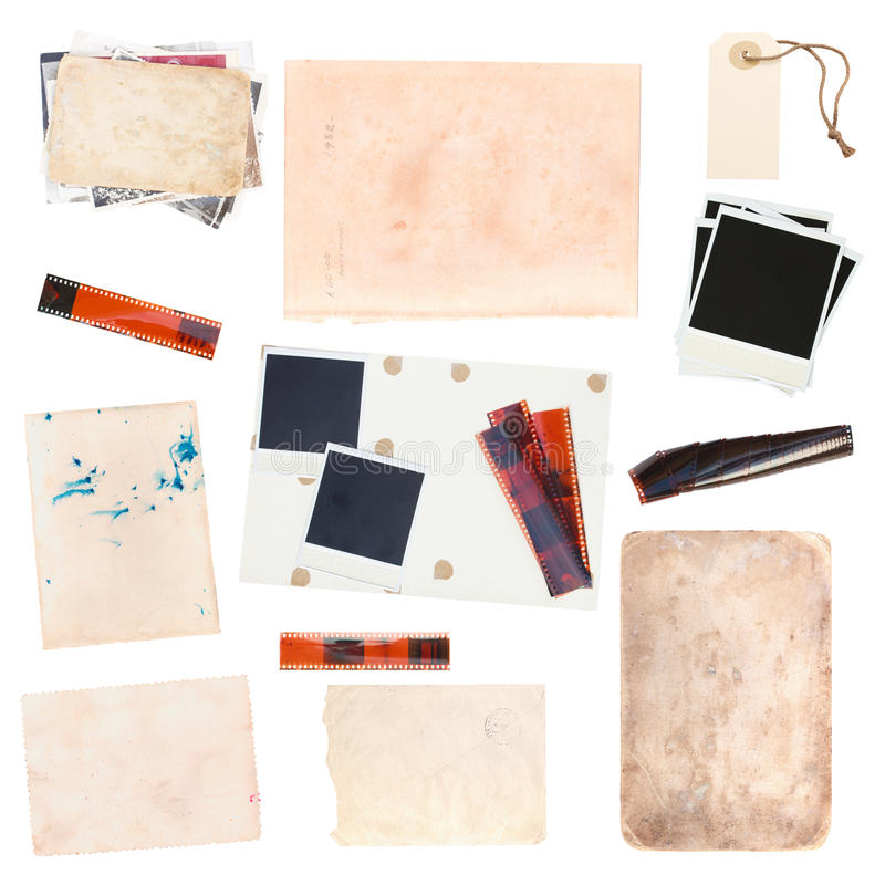Set of old paper sheets and vintage photos. Set of various old paper sheets and vintage photos isolated on white background royalty free stock photography