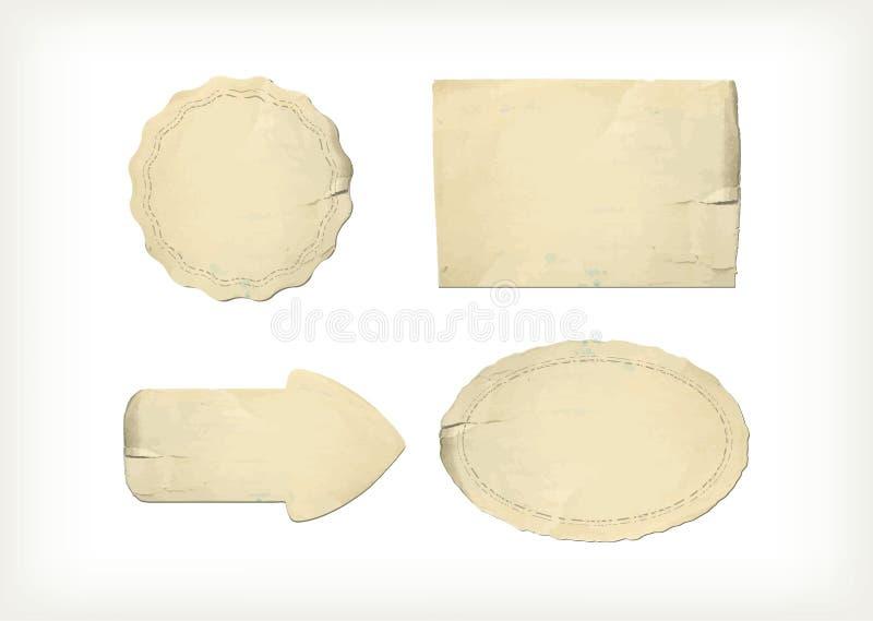 Set old paper textures elements vector illustration