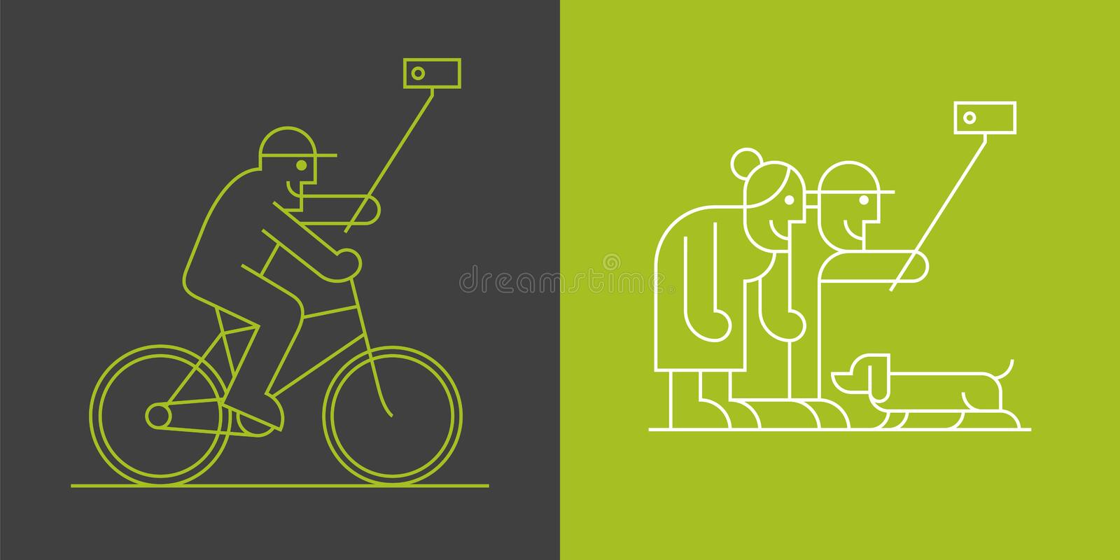 Set of old people making selfie with camera and stick linear icons vector illustration