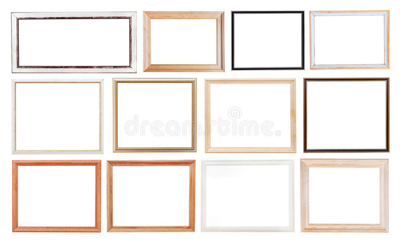 Set of old picture frames stock image