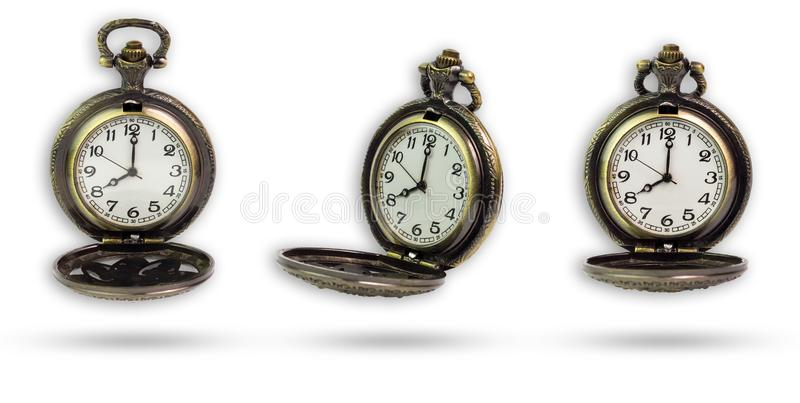 Set of old pocket watch isolated with clipping path. stock photography