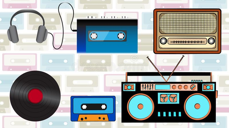 A set of old retro hipster music technology, electronics from the 80`s, 90`s: cassette audio player, audio cassette, headphones,. Audio tape recorder, radio stock illustration