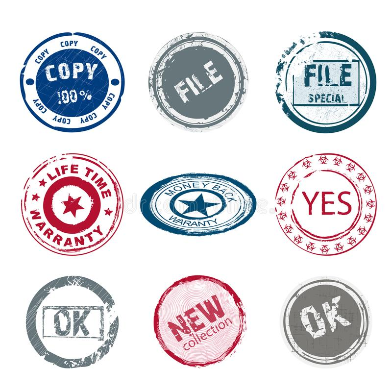 Set of 9 old round stamp vector illustration