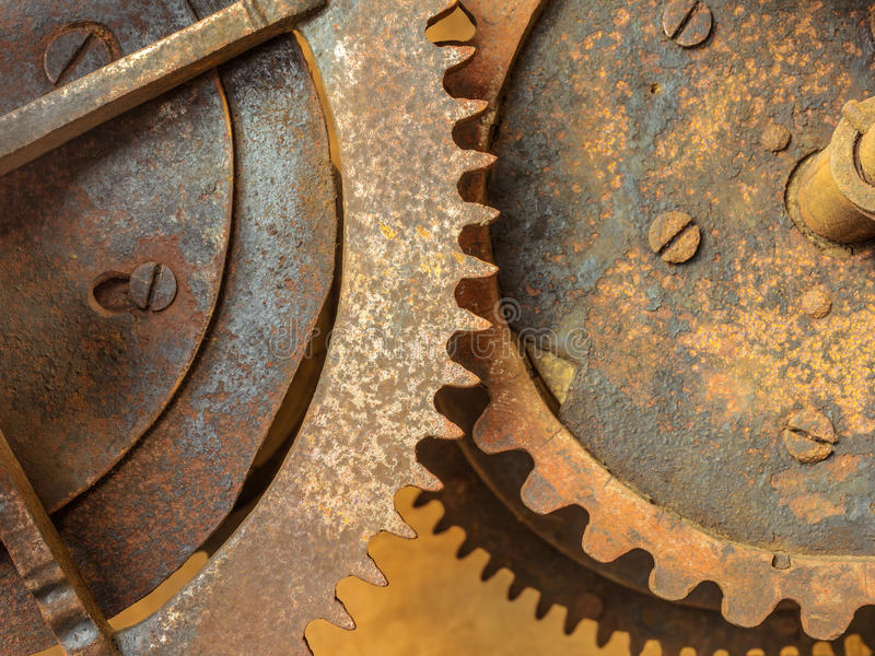 Set of old rusted gearwheels. Set of vintage rusted gearwheels of an old church clock royalty free stock photos