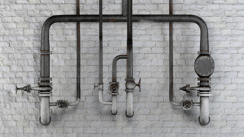 Set of old, rusty pipes and valves against white classic brick wall royalty free illustration