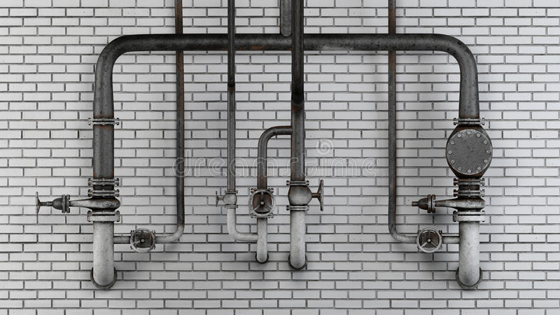 Set of old, rusty pipes and valves against white modern brick wall vector illustration