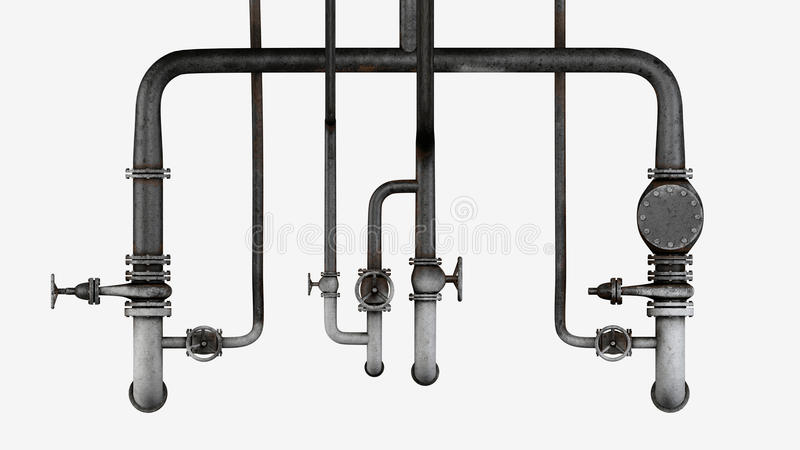 Set of old, rusty pipes and valves isolated on white background vector illustration