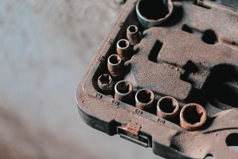 Set of old and rusty socket wrench. stock photography