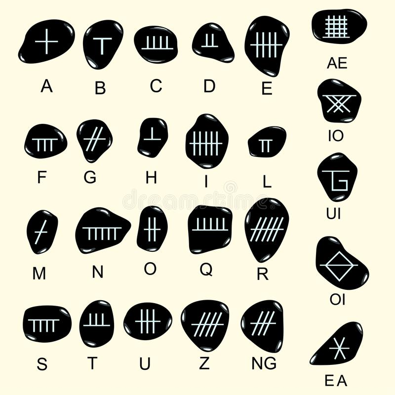 Set of old sacred celtic Ogham alphabet carved in stone. Ancient. Occult symbols, on white. Vector illustration royalty free illustration