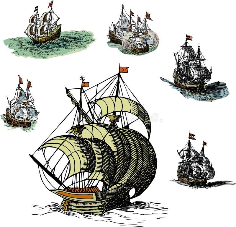 Set of Old Sailing Ships vector illustration
