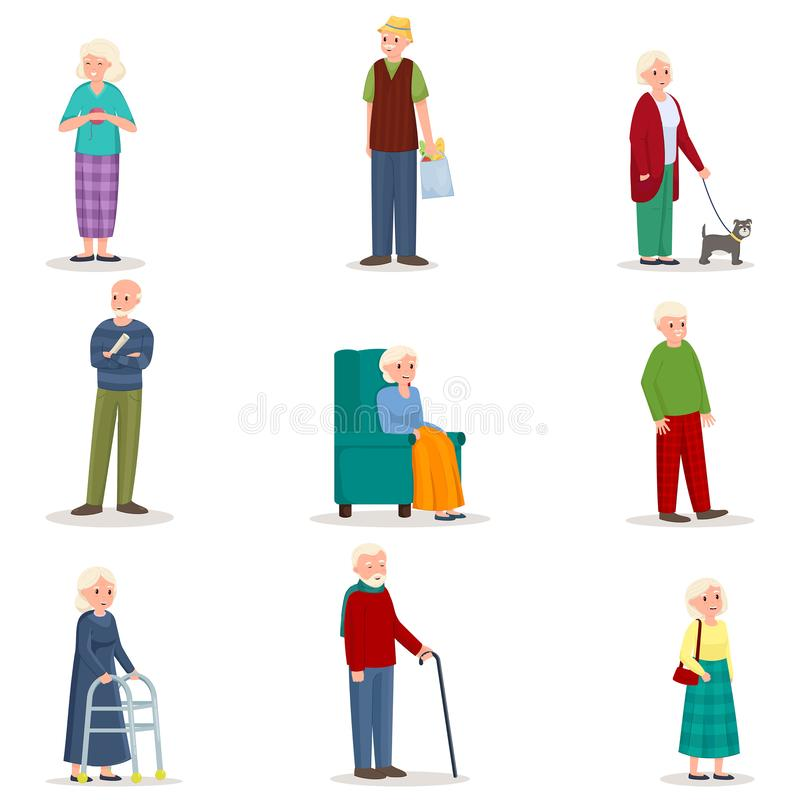 Set of old senior woman and man in different action stock illustration