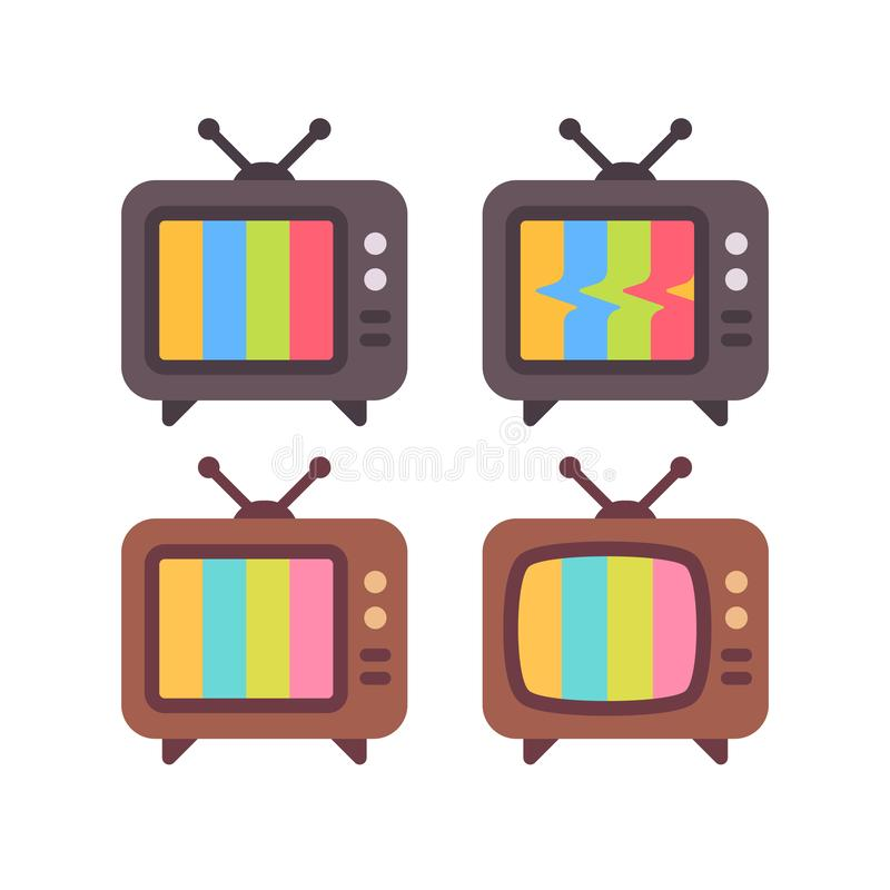 Set of old TV with error screens. Retro TV sets flat icons royalty free illustration