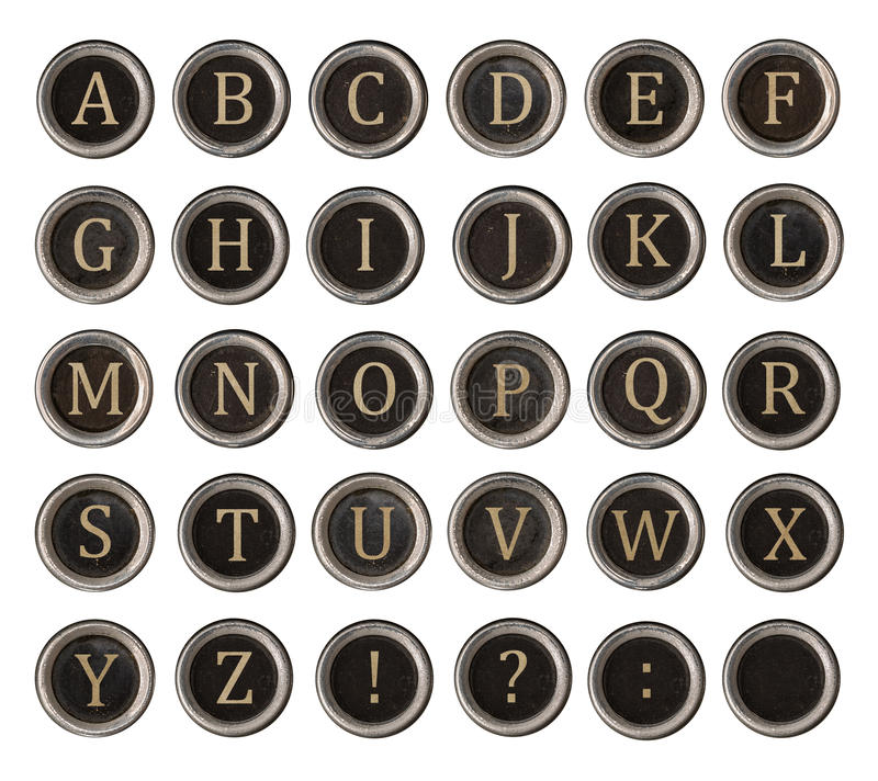 Set of old typewriter keys royalty free stock image